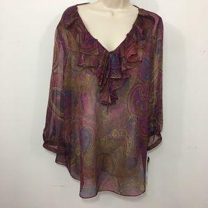 Ralph Lauren Sheer Ruffle Blouse 3-4 Sleeve XL